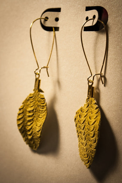 Illusion Leaf Leather Earrings - Chartreuse