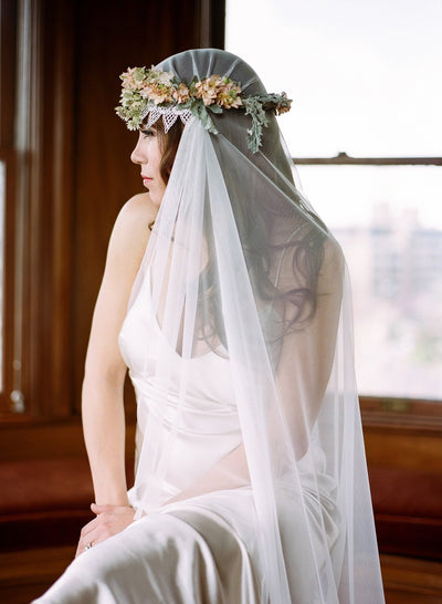 Danani Style #308 | Bride wearing vintage inspired chapel length juliet veil bridal cap with lace trim and flower crown | Loblee Photography