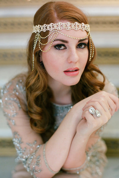 Danani Style #210 | Flapper draped 1920s halo forehead headband in gold with crystal swags for a Gatsby wedding | Loblee Photography