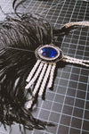 Flapper Headband - Sapphire and Crystal - White - Style #105
