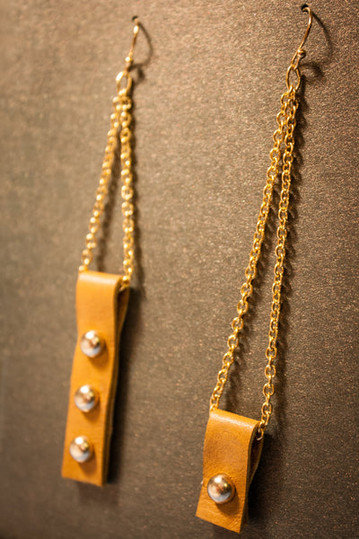 Asymmetric Leather Rivet Earrings - Marigold