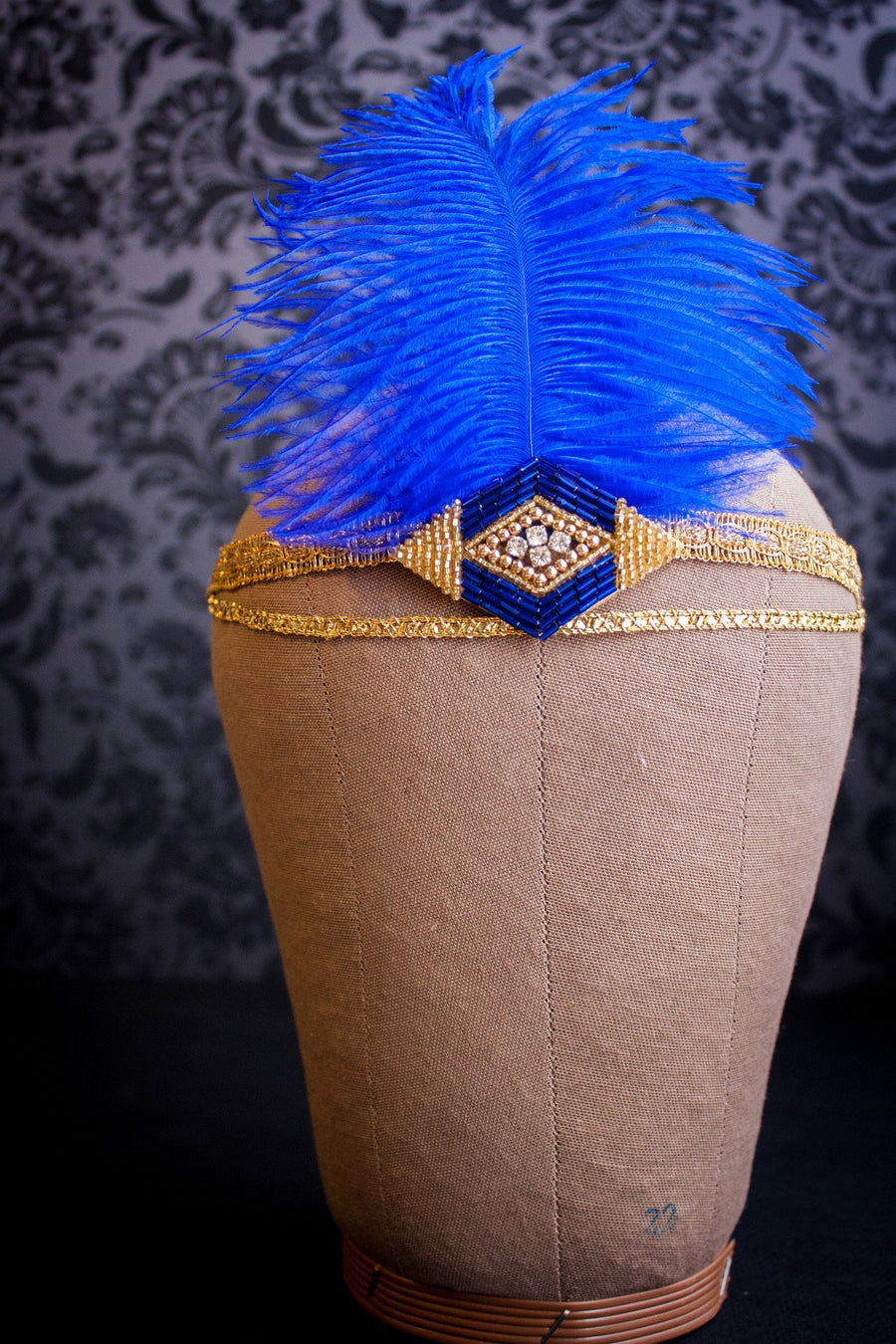 Royal Blue Aigrette Flapper Headpiece - Style #453