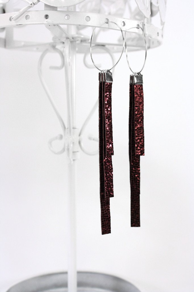 Violet Trio Tassel Leather Earrings