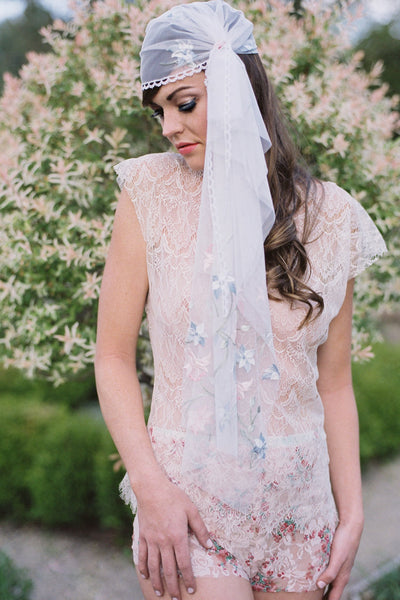 Pastel Flower Embroidered Juliet Cap - Style #312