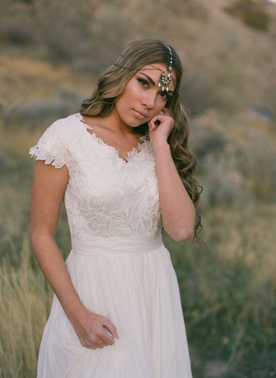 Bohemian Headpiece - Bronze and Pearl - Style #428