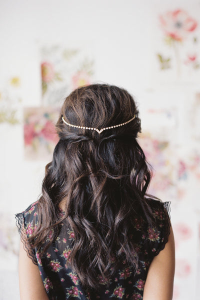 Danani | Draped V Headpiece - Style #224 | Loblee Photography