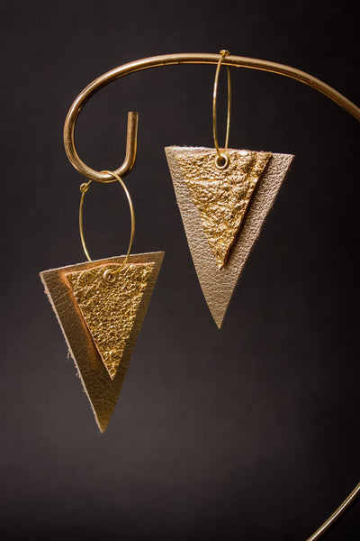 Diamond Bar Leather Earrings - Gold