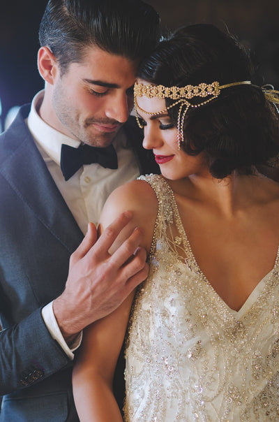 Danani Style #210 | Bride wearing flapper draped crystal 1920s halo forehead headband in gold for a Gatsby wedding | Mallory Francks Photography
