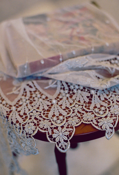 Embroidered Silver Lace & Polka Dot Juliet Veil - Style #310