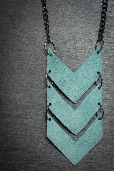 Scout Leather Chevron Necklace - Aqua