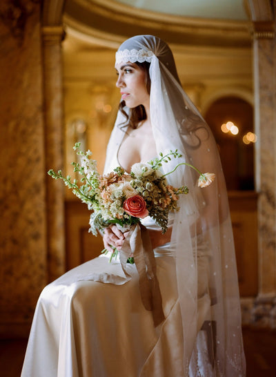 Embroidered Gold Lace & Polka Dot Juliet Veil - Style #310