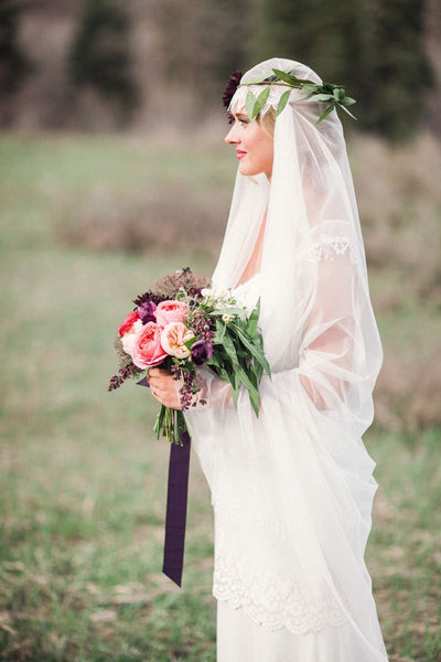 Danani Style #308 | Bride wearing vintage inspired cathedral length juliet veil bridal cap with lace trim and flower crown | Megan Robinson Photography
