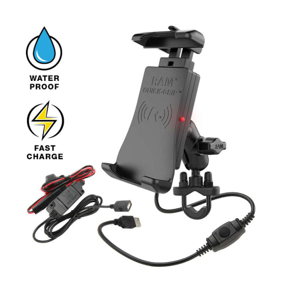 RAM-B-149Z-A-UN14W-V7M RAM Quick-Grip Waterproof Wireless Charging Handlebar Mount-image-1