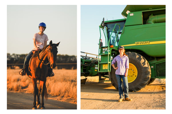 Photo collage of Ellie Morris riding horse and standing in front of header