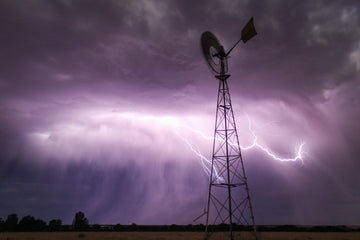 Windmill and lightning