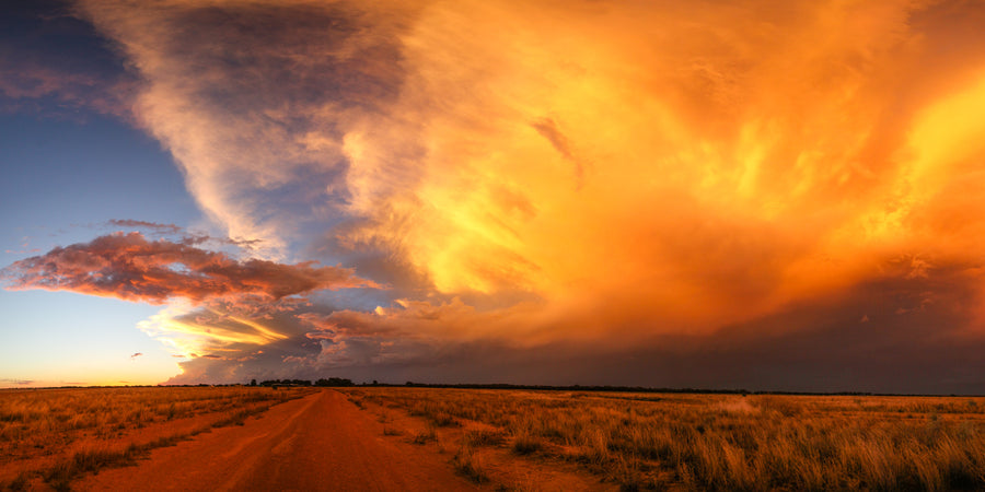 Thunderstorm sunset panorama