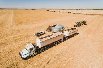 Aerial photo of grain truck