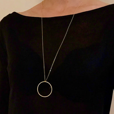 Long Pendant Circle Necklace