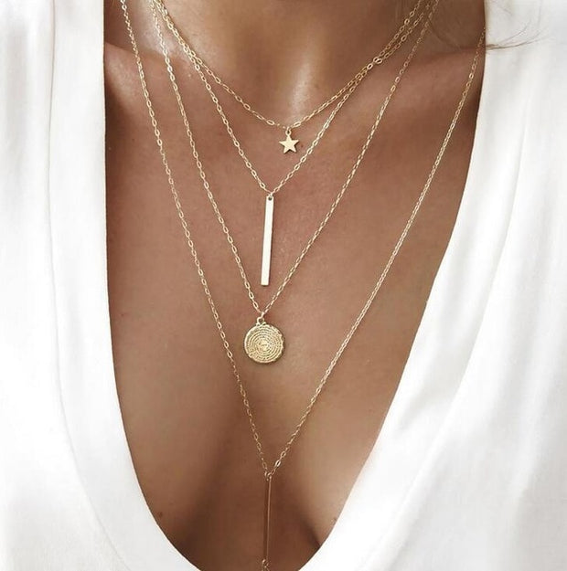 Layered Multi-Pendant Chain Necklace