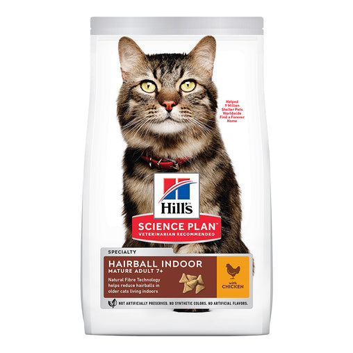 Hill's Mature Adult 7+ Hairball & Indoor Dry Cat Food - Chicken