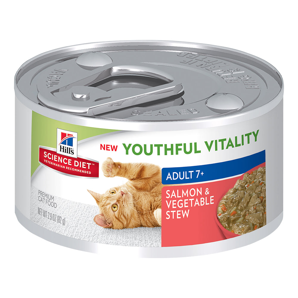 Hill's Adult 7+ Youthful Vitality Wet Cat Food - Salmon & Vegetable