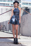 Galaxy Black Reversible Skater Dress