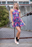 Peeking Peonies Reversible Skater Dress