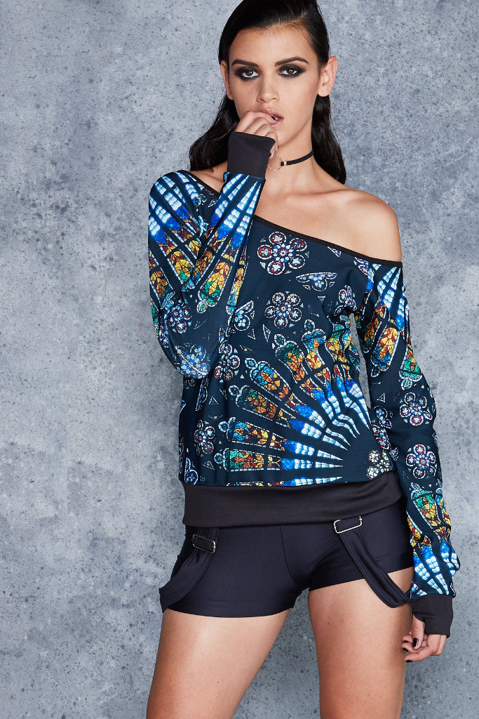 Stained Glass Off The Shoulder Sweater - LIMITED