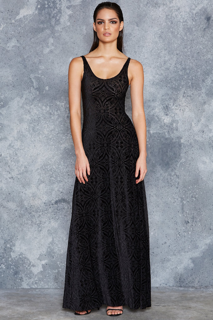 Burned Velvet Maxi Dress