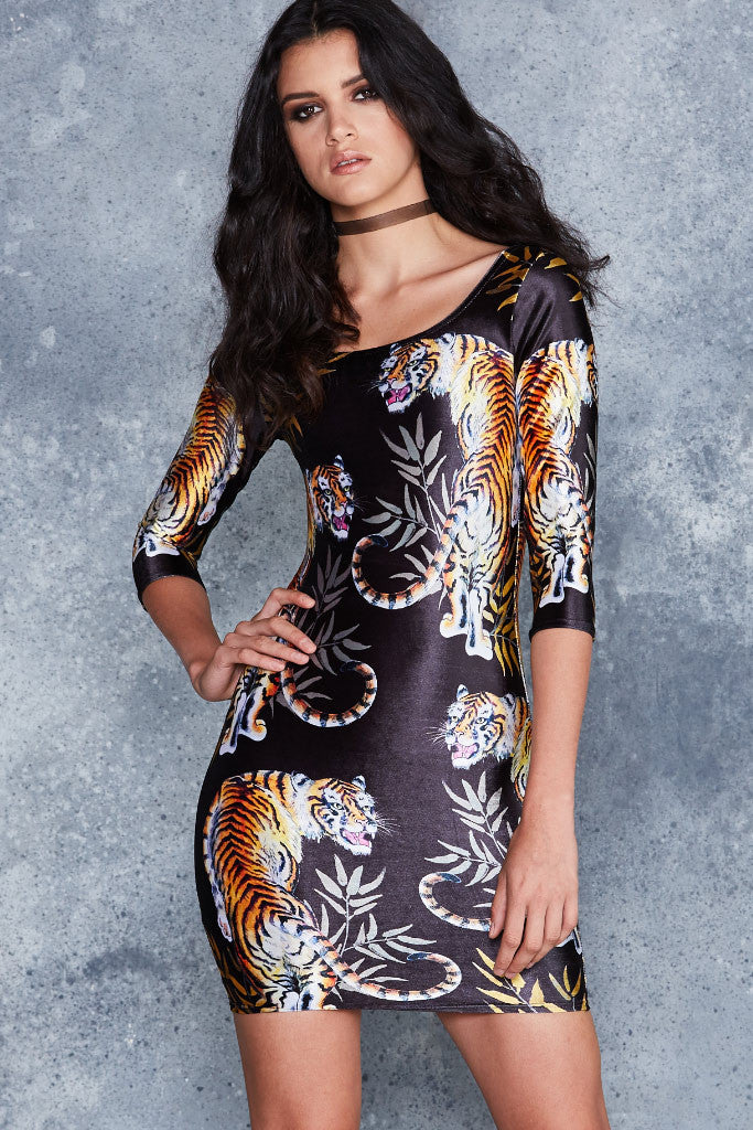 Prowler 3/4 Sleeve Velvet Dress - LIMITED