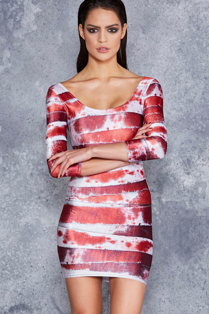 Bleeding Mummy 3/4 Sleeve Velvet Dress - LIMITED