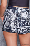 Black Widow Comic Cuffed Shorts