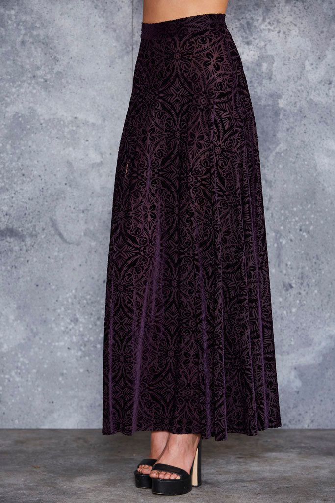 Burned Velvet Aubergine Single Split Maxi Skirt