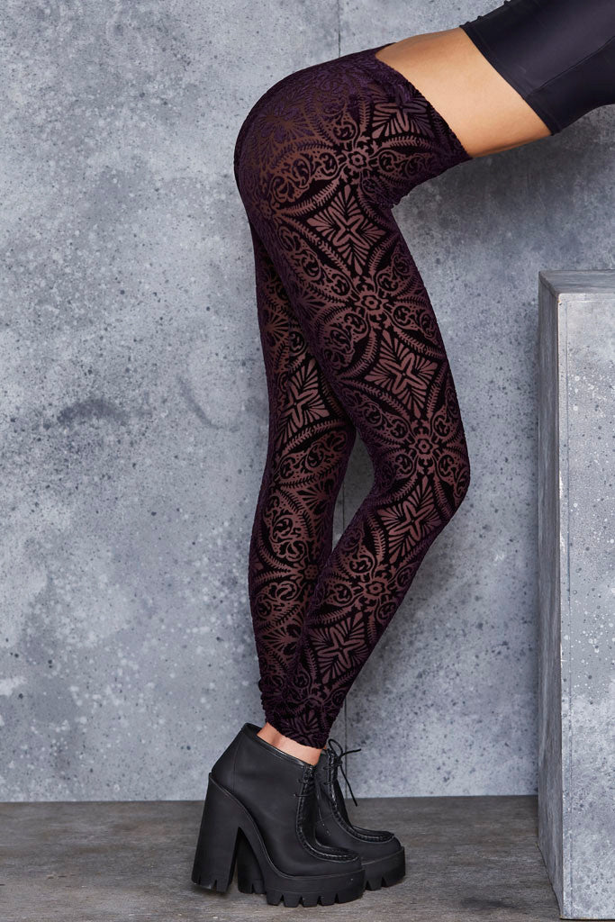 Burned Velvet Aubergine Leggings