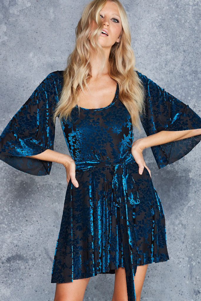 Burned Velvet Teal Floral Kimono Dress