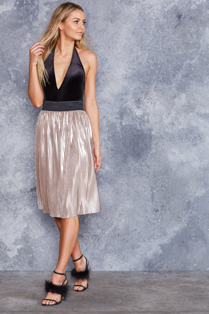 Attention Pleats White Gold Midi Skirt - LIMITED