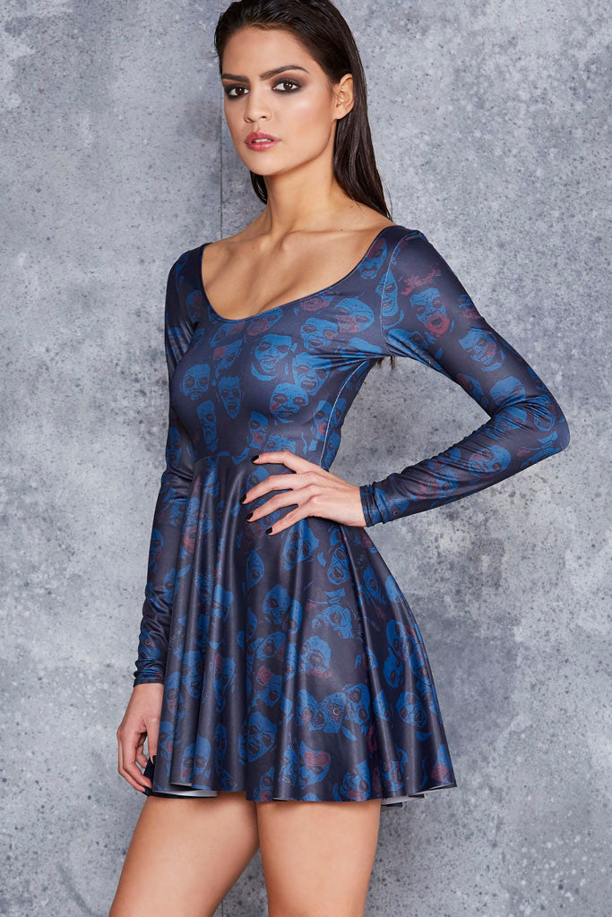Zombie Invisible Long Sleeve Skater Dress - LIMITED