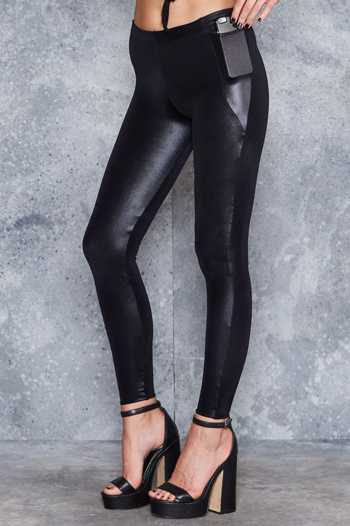 Wet Look Pocket Leggings