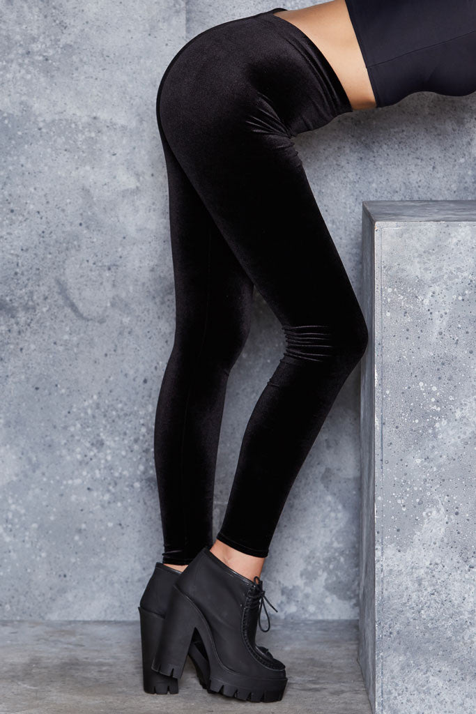 Velvet Black High Waisted Leggings 2.0