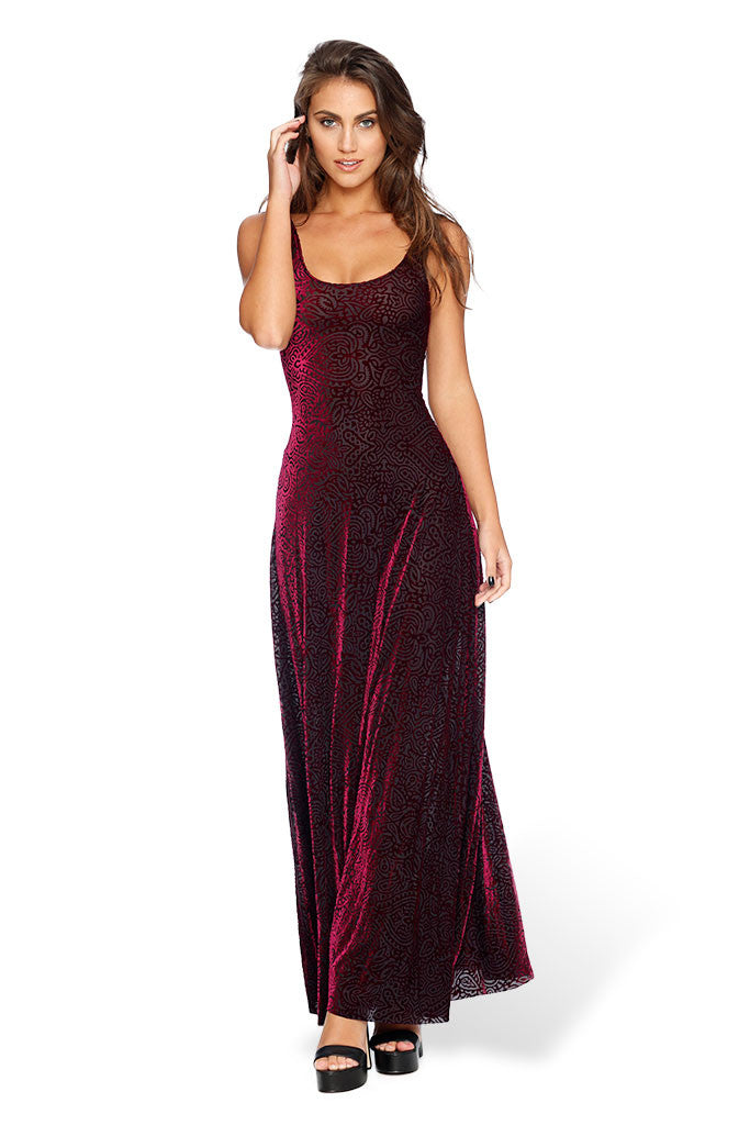 Burned Velvet Magenta Mandala Maxi Dress