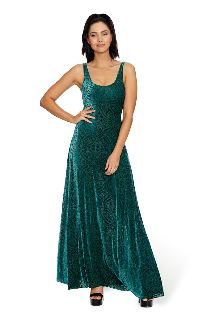 Burned Velvet Elm Maxi Dress