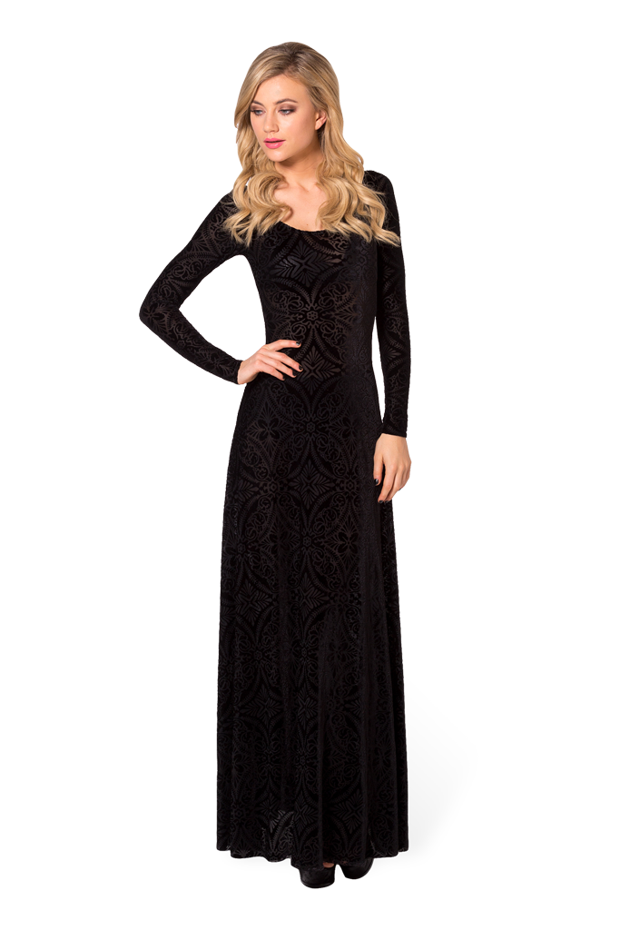 Burned Velvet Long Sleeve Maxi Dress