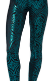 Geometric Floral Teal Leggings