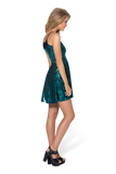 Geometric Floral Teal Reversible Straps Dress