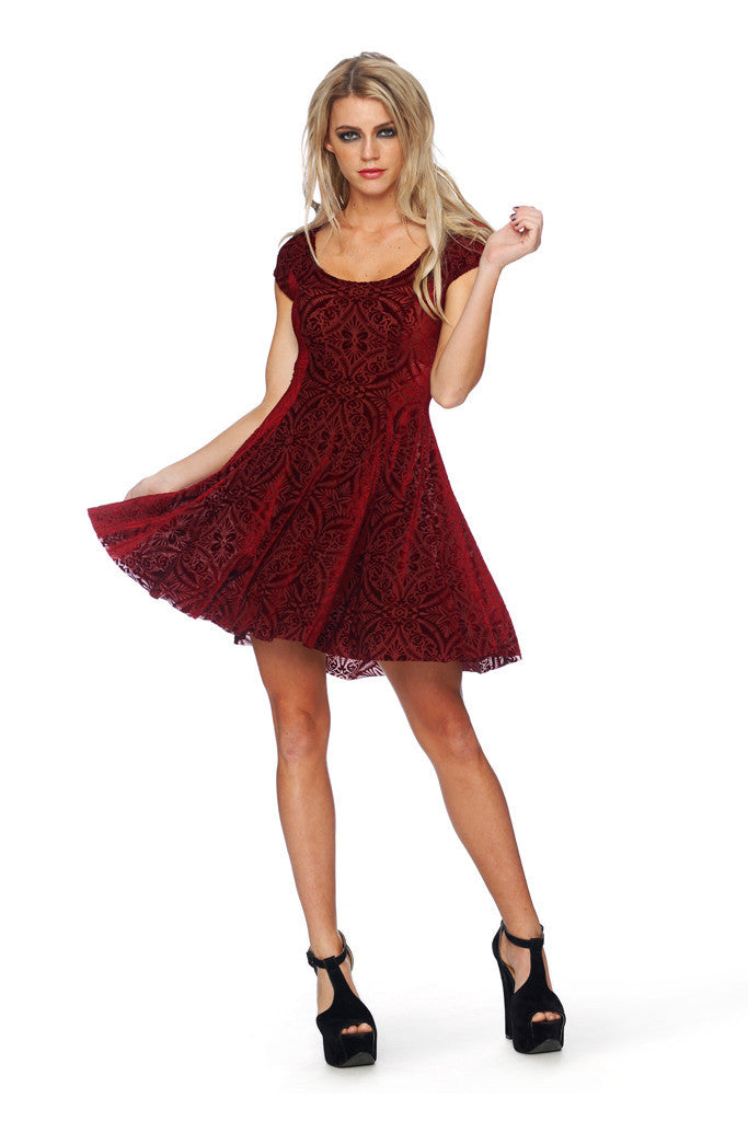 Burned Velvet Wine Evil Cheerleader Dress - LIMITED