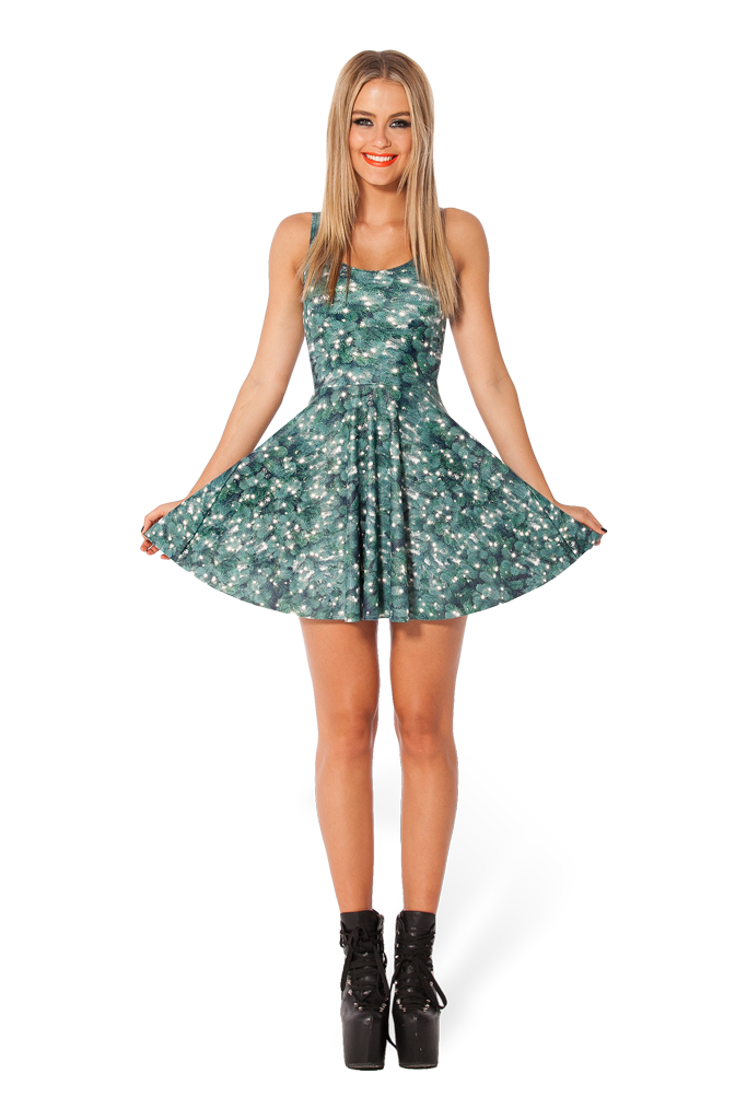 Christmas Tree Reversible Skater Dress Black Milk Clothing