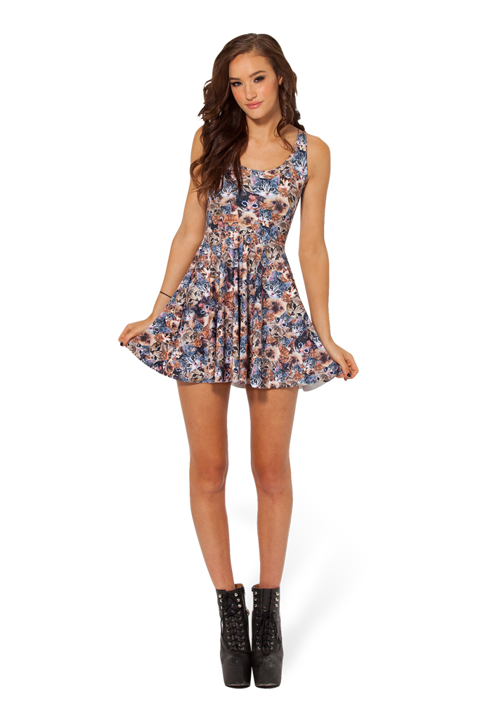 Crazy Cat Lady Reversible Skater Dress – Black Milk Clothing