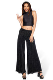 Burned Velvet Damask Flare Pants