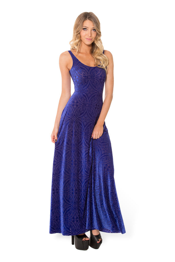 Burned Velvet Blurple Maxi Dress