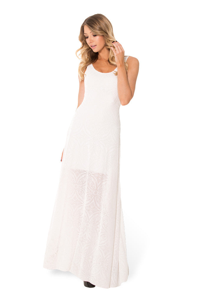 Burned Velvet White Maxi Dress